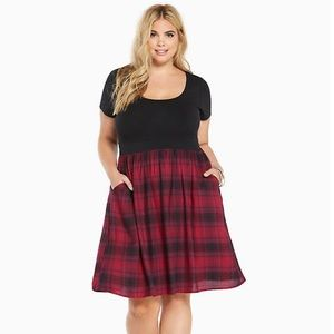 Torrid Plaid Dress Knit to Woven